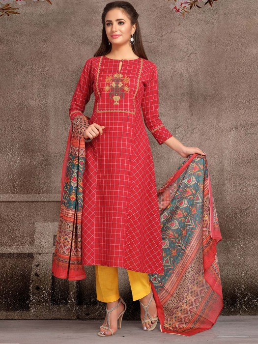 Red Color Round Neck Punjabi Salwar Suit