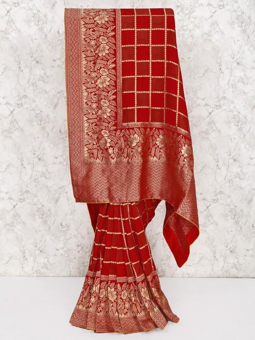Red Color Silk Wedding Wear Saree