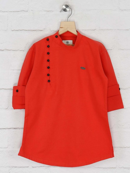 Red Colored Solid Cotton Fabric Kurta