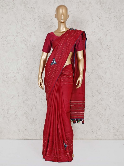 Red Cotton Silk Festive Function Saree