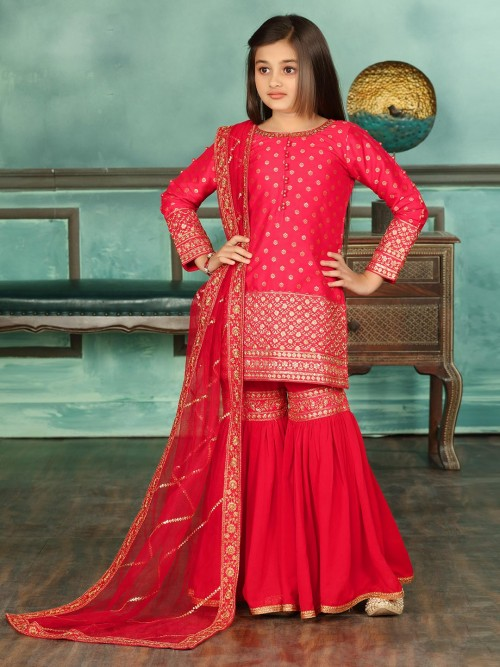 Red Cotton Silk Party Wear Sharara Suit
