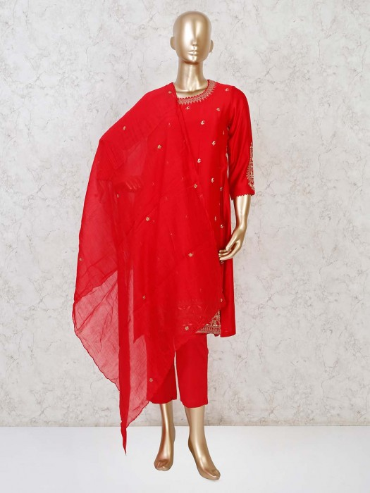 Red Cotton Silk Punjabi Pant Suit