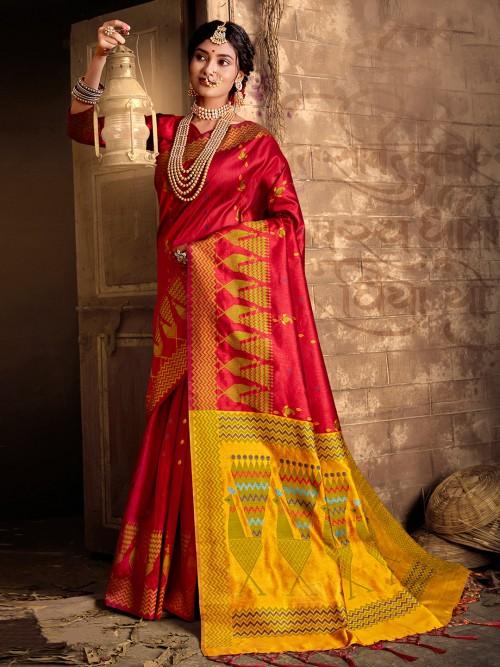 Red Cotton Silk Wedding Function Saree
