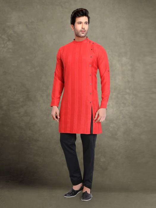 Red Cotton Stripe Kurta Suit For Festive Wear