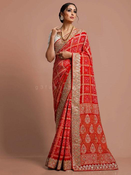 Red Designer Bandhej Saree In Bridal Wear