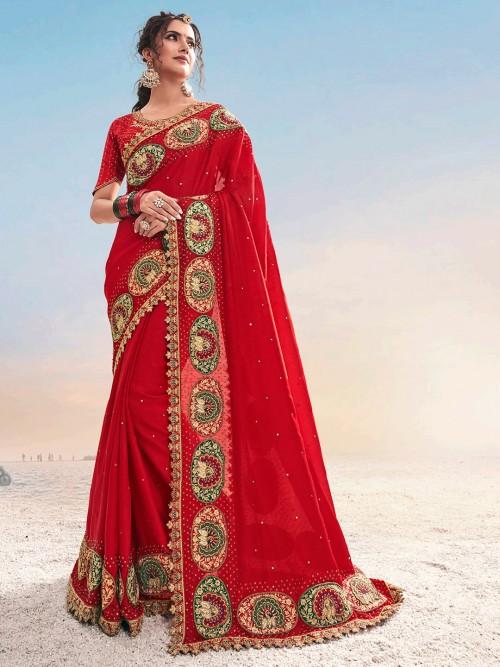 Red Designer Saree For Wedding In Georgette