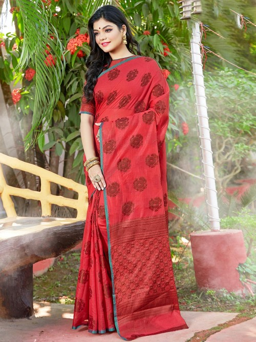 Red Designer Saree In Soft Cotton Silk