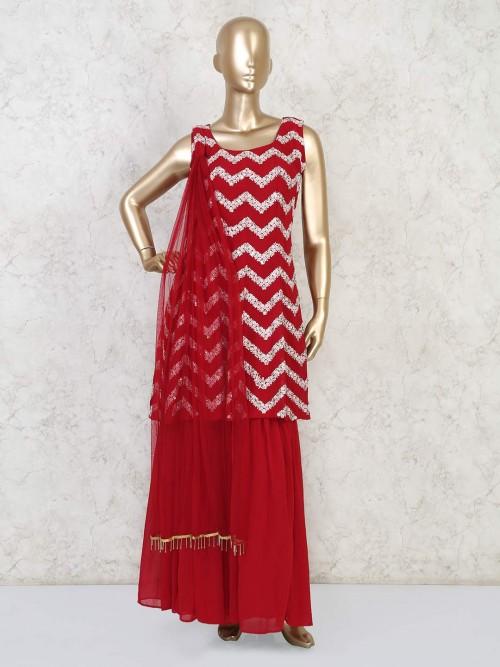 Red Georgette Festive Punjabi Sharara Suit