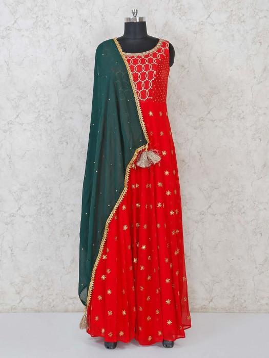 Red Georgette Floor Length Anarkali For Wedding