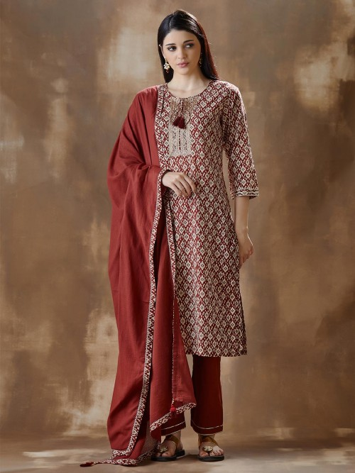 Red Pant And Kurti Set In Cotton For Festival