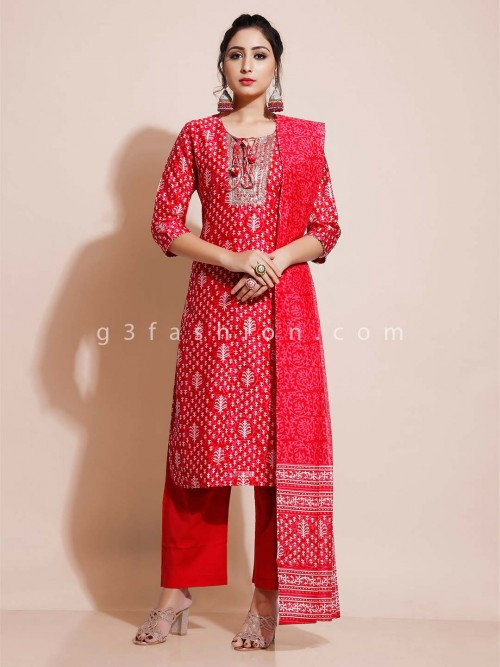 Red Pant Style Suit In Cotton For Festivals