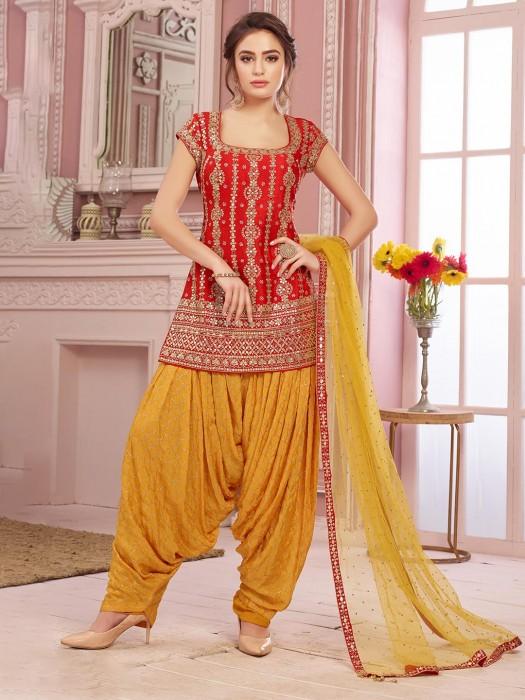 Red Patiala Salwar Kameez In Raw Silk