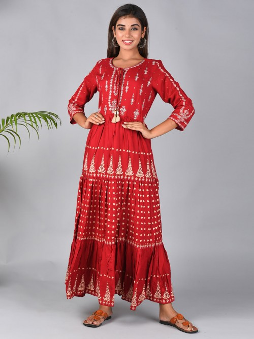 Red Printed Kurti For Festive