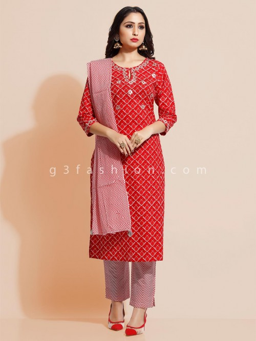 Red Printed Pant Suit In Cotton