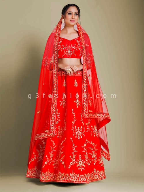 Red Raw Silk Semi Stitched Lehenga Choli For Bridal