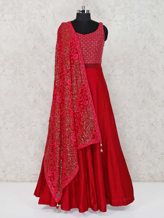 Red Raw Silk Wedding Function Anarkali Suit