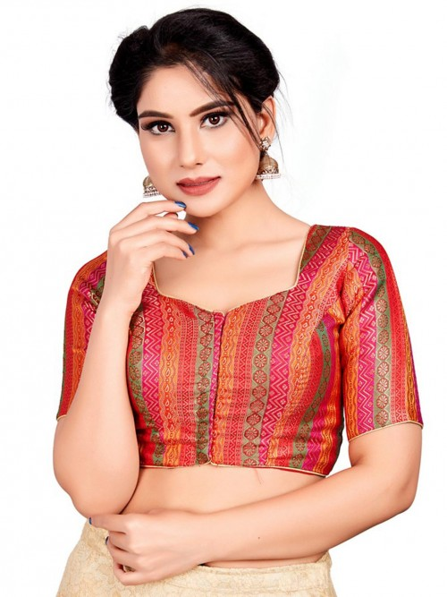 Red Readymade Blouse In Cotton Silk With Multicolour Thread Weaving