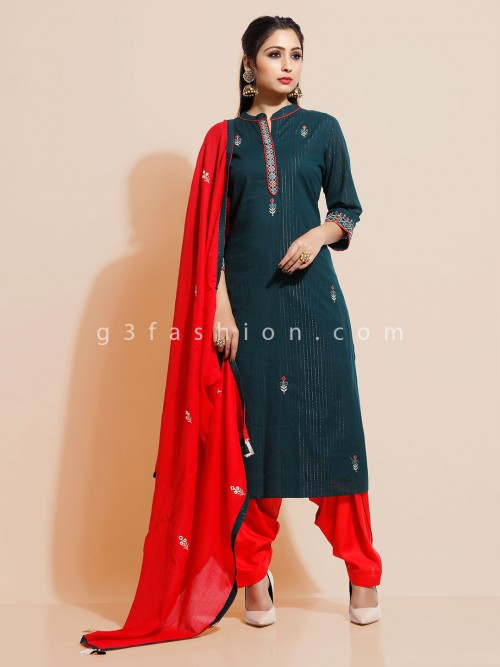 Red Salwar Suit In Cotton For Festive Days