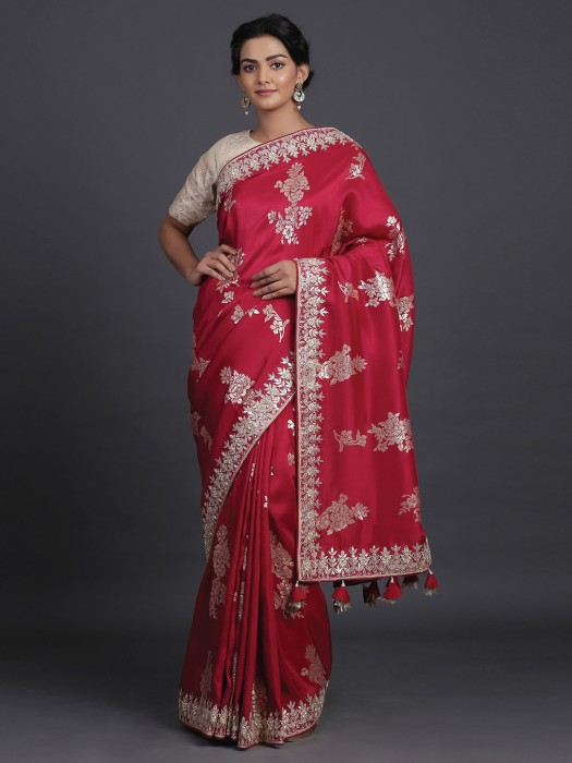 Red Saree In Silk With Foil Zari Details