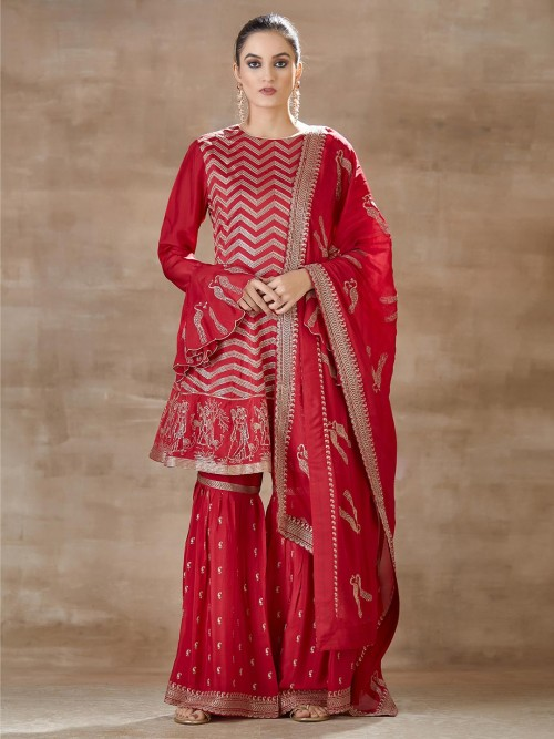 Red Sharara Set For Festive In Cotton