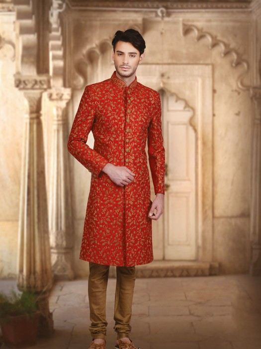 Red Silk Wedding Wear Indo Sherwani