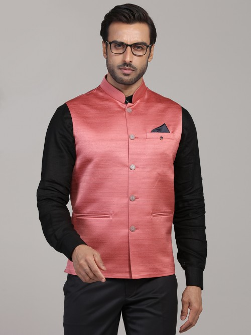Red Solid Party Function Terry Rayon Waistcoat