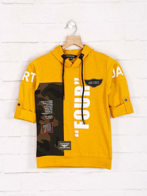 Red Sound Printed Cotton Yellow T-shirt