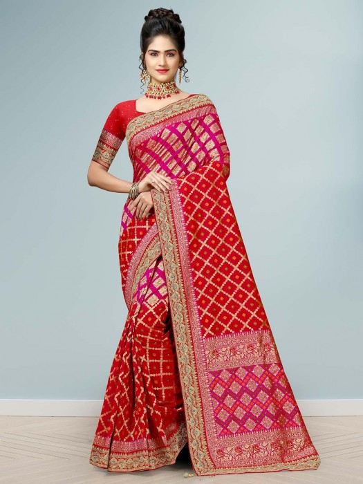 Red Wedding Function Designer Silk Saree