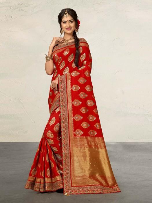 Red Wedding Function Saree In Banarasi Silk