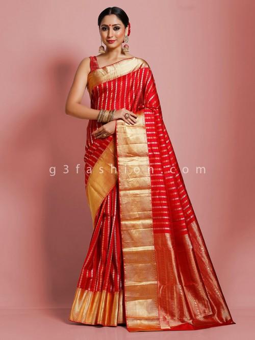 Red Wedding Kanjivaram Silk Saree For Reception