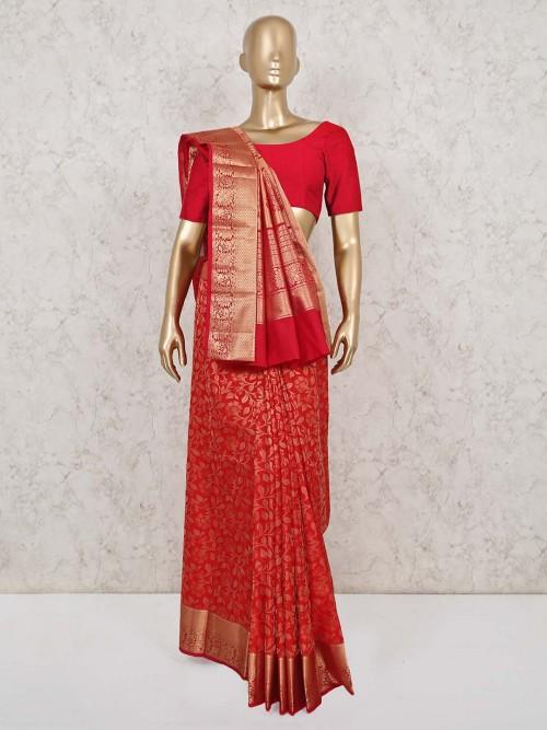 Red Wedding Saree Design In Pure South Silk