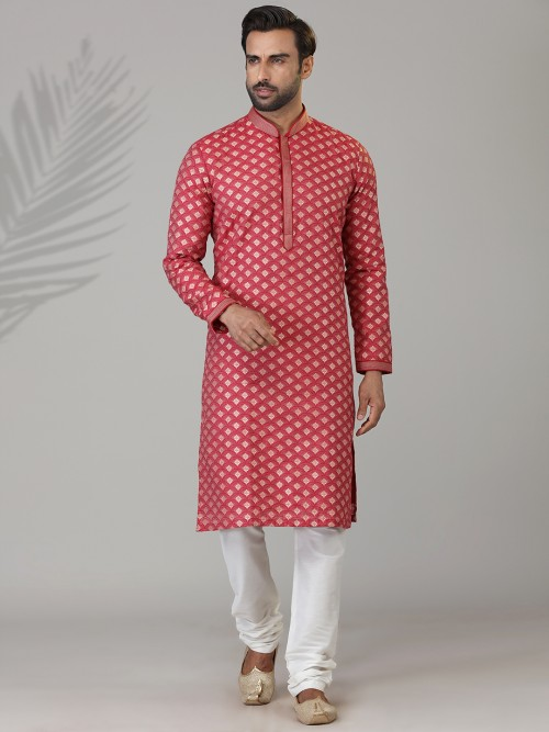 Red Zari Work Cotton Silk Kurta Suit