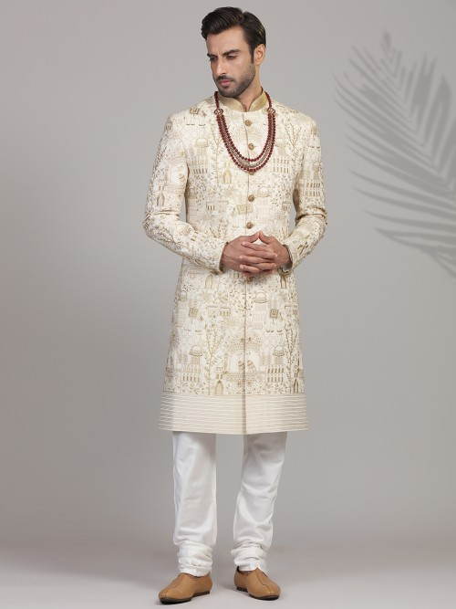 Refined Thread Woven Silk Sherwani In Cream