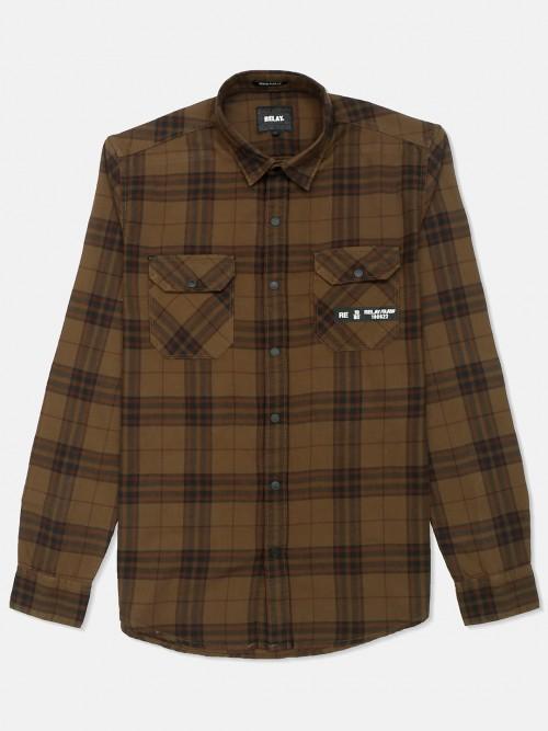 Relay Khaki Cotton Shirt With Checks Patern