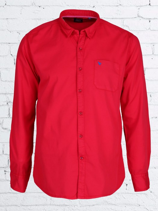 Relay Plain Cotton Red Casual Shirt