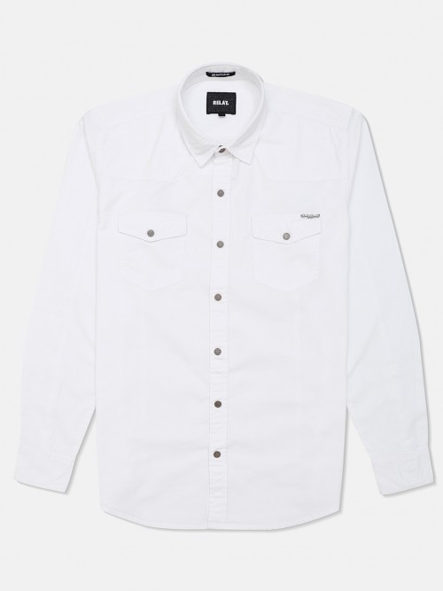 Relay Solid White Cotton Casual Shirt