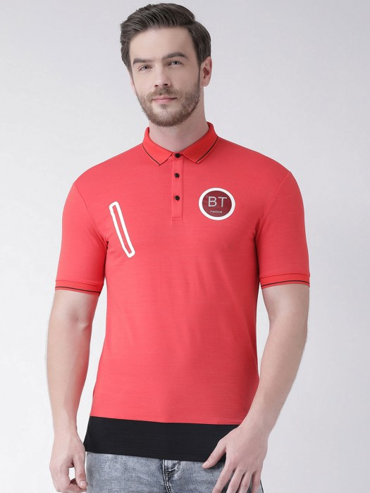 Rex Straut Casual Wear Red Solid T-shirt
