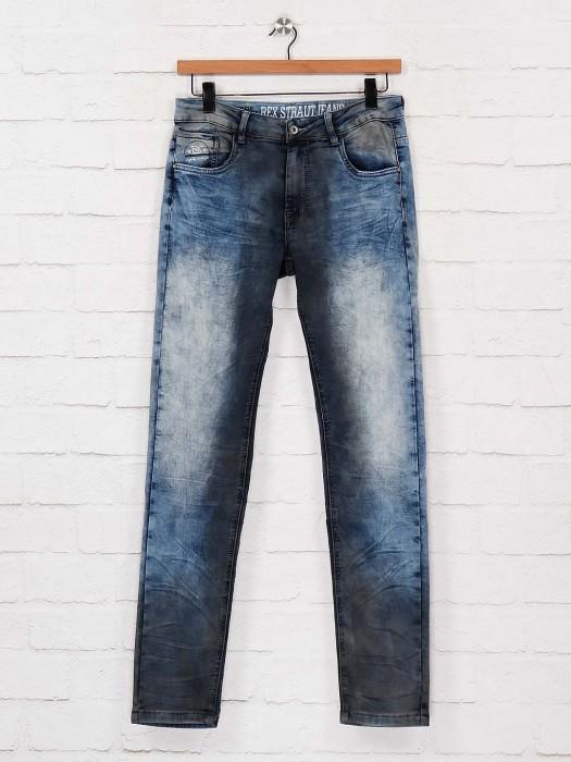 Rex Straut Washed Blue Slim Fit Jeans