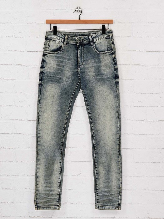 Rex Straut Washed Effect Blue Slim Fit Jeans