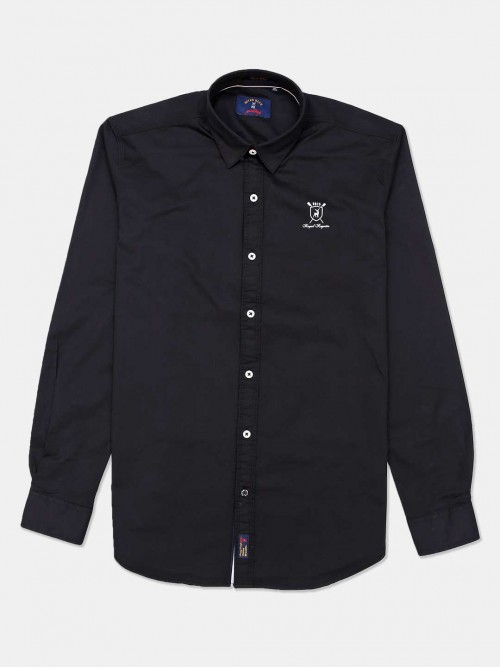 River Blue Black Cotton Solid Casual Shirt