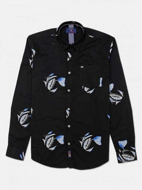 River Blue Black Printed Casual Shirt For Mens