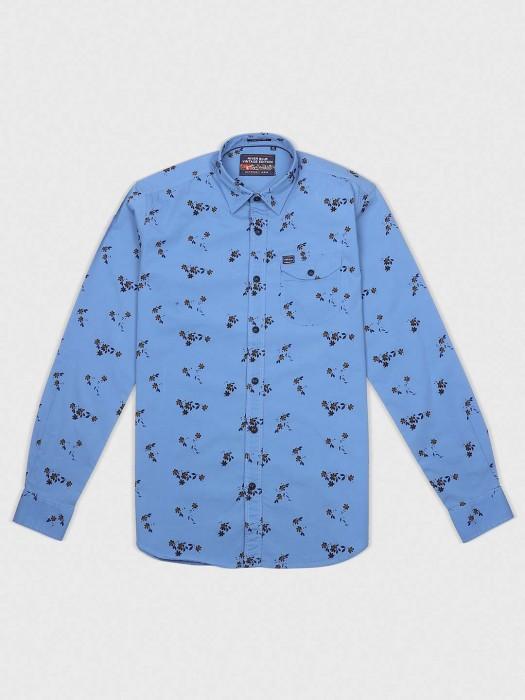 River Blue Blue Printed Pattern Shirt