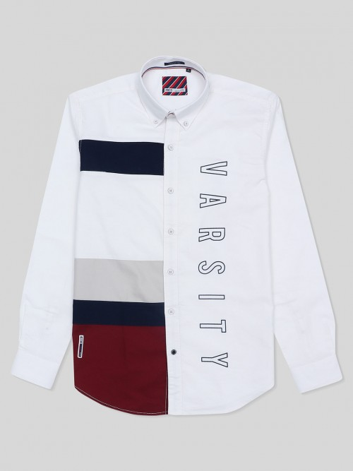River Blue Casual Wear White Printed Shirt