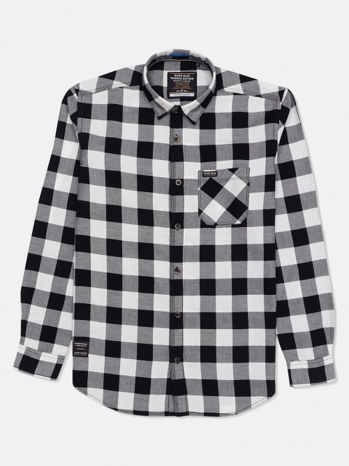 River Blue Cotton Grey And Black Checks Casual Shirt