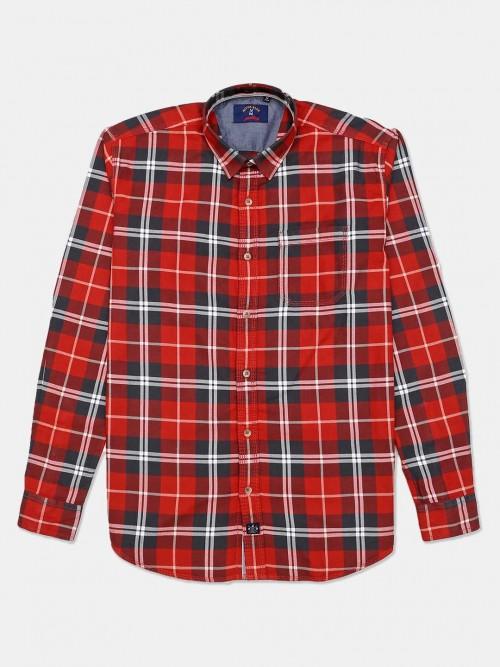 River Blue Cotton Orange Checks Shirt