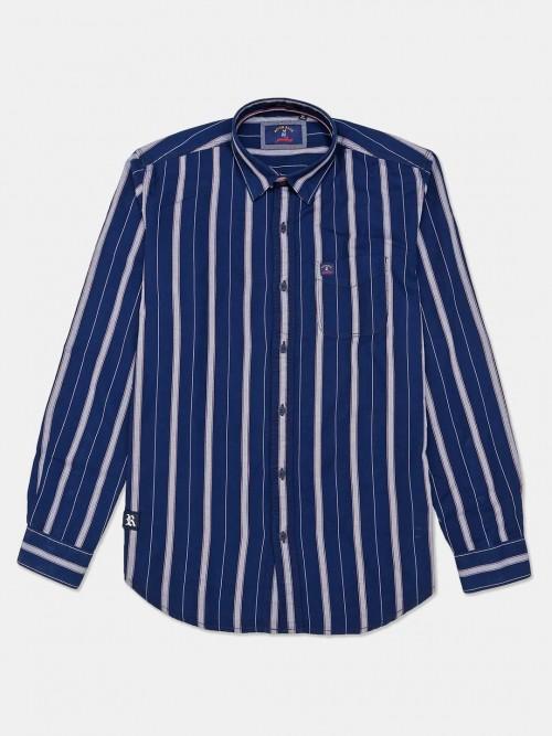 River Blue Cotton Stripe Navy Mens Shirt