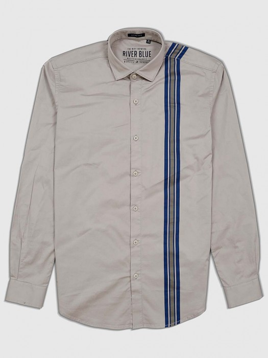 River Blue Grey Color Cotton Fabric Shirt