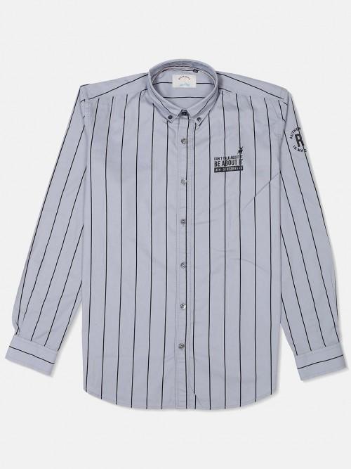 River Blue Grey Cotton Stripe Shirt