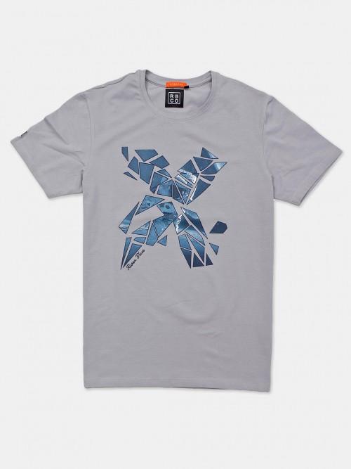 River Blue Grey Printed Neck Cotton T-shirt