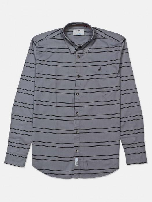 River Blue Grey Stripe Curve Hem Shirt